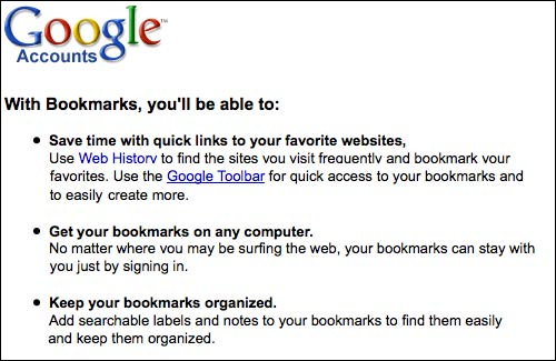 Google Bookmarks set-up splash screen