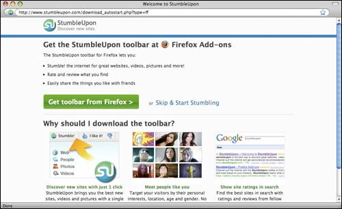 StumbleUpon toolbar call to action