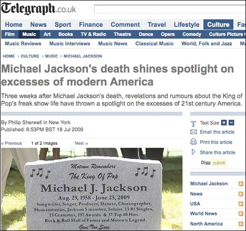 Telegraph article about Michael Jackson