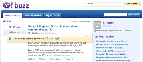 Yahoo! Buzz Page