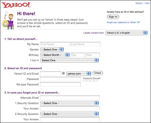 Yahoo! registration form