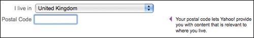 Yahoo! postcode entry help