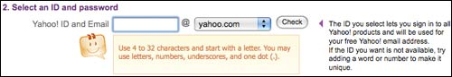 Yahoo! ID choosing help