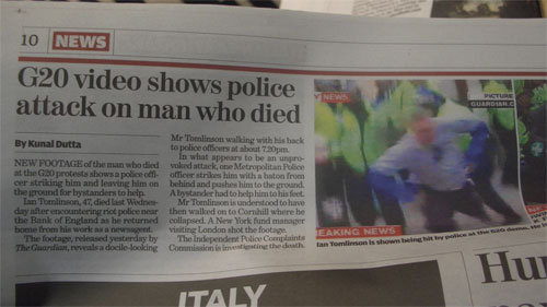 The Independent coverage of Ian Tomlinson's death in print