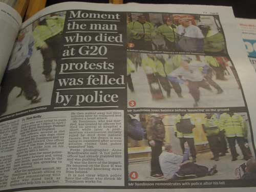 Daily Mail coverage of Ian Tomlinson's death in print