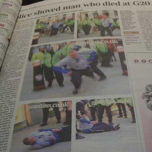Times coverage of Ian Tomlinson's death in print