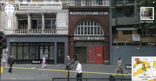 Google Street View of Aldwych Station