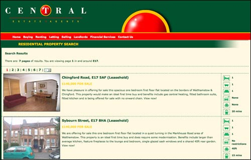 Central estate agent search results page