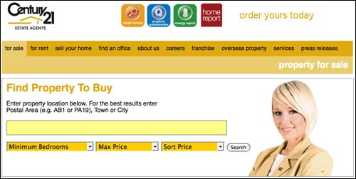 Century 21 estate agent homepage