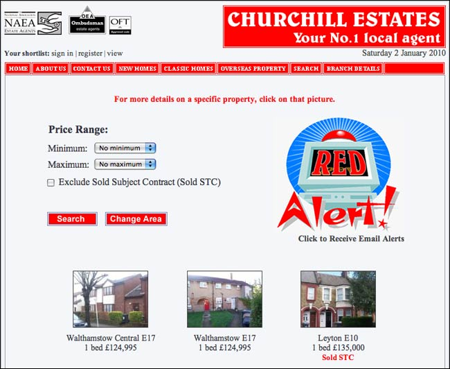 Churchill Estate search engine results