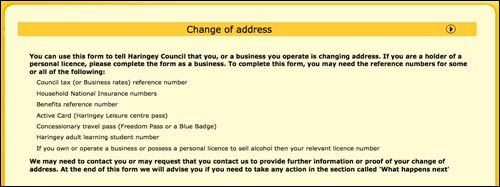 Haringey change of address form