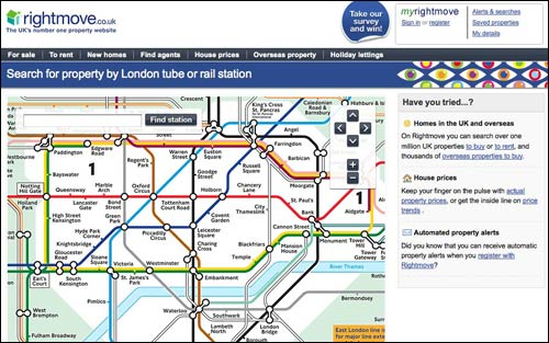 Rightmove search for property via the Tube map