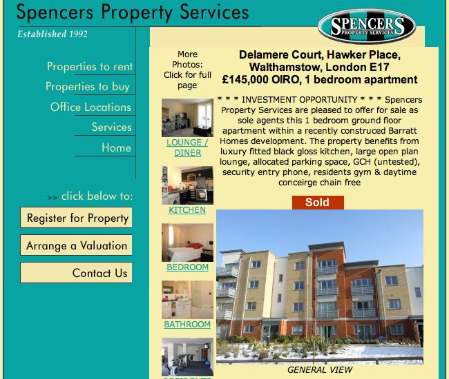 Spencers Property individual page detail