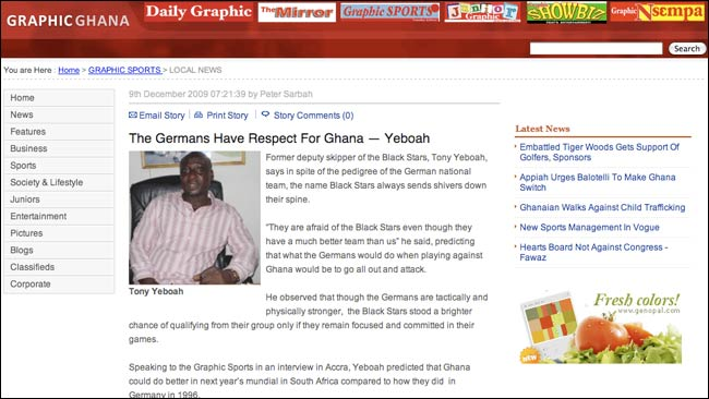 Graphic Sports interviews Ghana's Tony Yeboah
