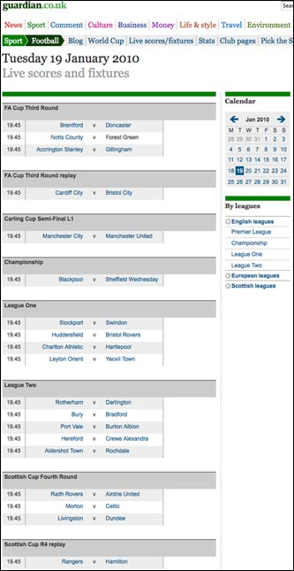 Football fixtures on guardian.co.uk