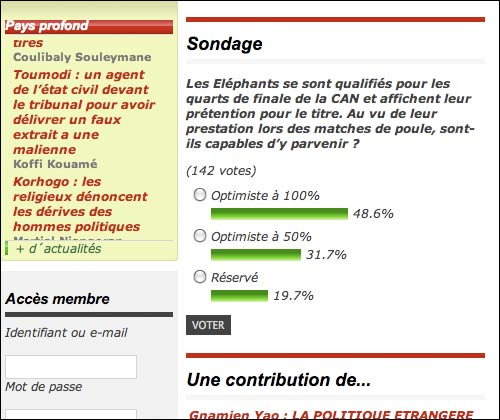 Fraternité Matin online vote