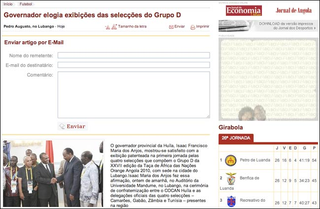 Jornal de Sportos email sharing interface
