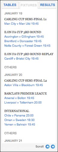 Football fixtures on Times Online
