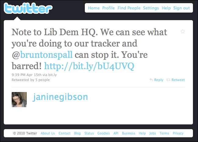 Janine Gibson tweets about Lib Dem bulk votes