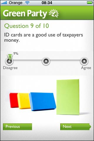Green Party iPhone questionaire