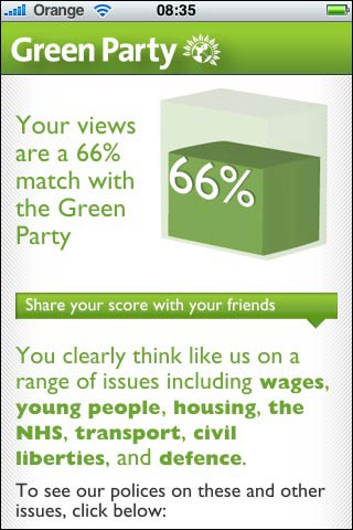 Green Party iPhone app screenshot