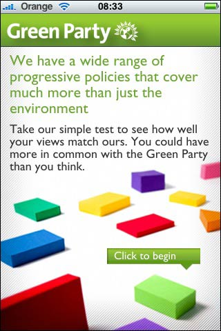 Green Party iPhone app splash screen