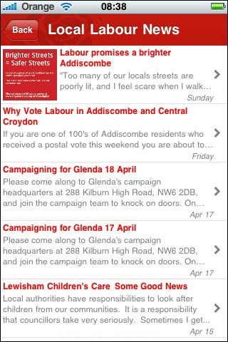 Location based content in the Labour app