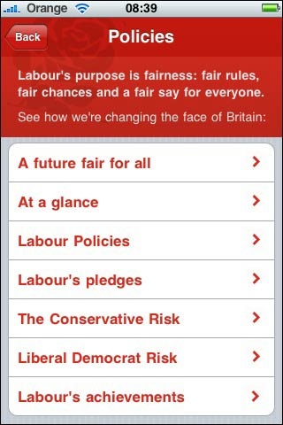 Labour iPhone app talks of the risk of voting for other parties