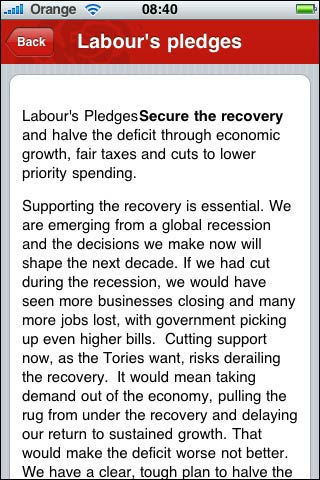 Labour iPhone app with fixed font size