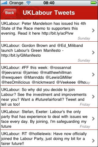 Labour's integrated Twitter feed in their iPhone app