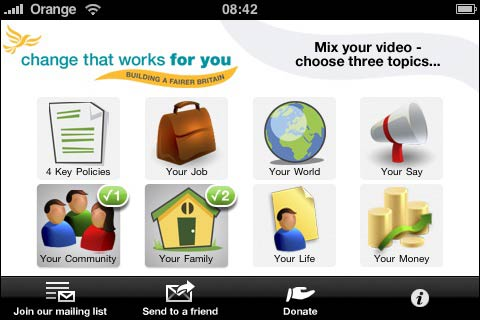 Liberal Democrat iPhone app menu