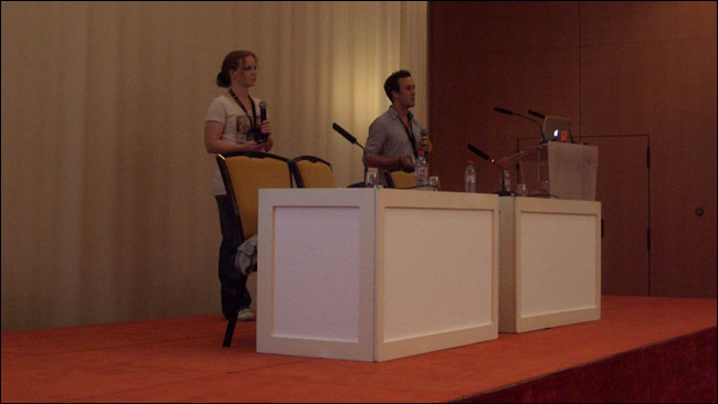 Claire Rowland and Chris Browne presenting at EuroIA 2010