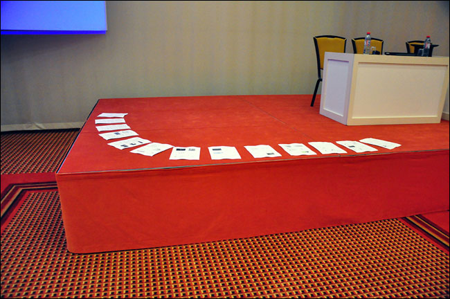 My presentation 'setlist' spread out on the stage