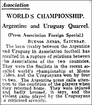 1930 Manchester Guardian story about Uruguay and Argentina in 1930