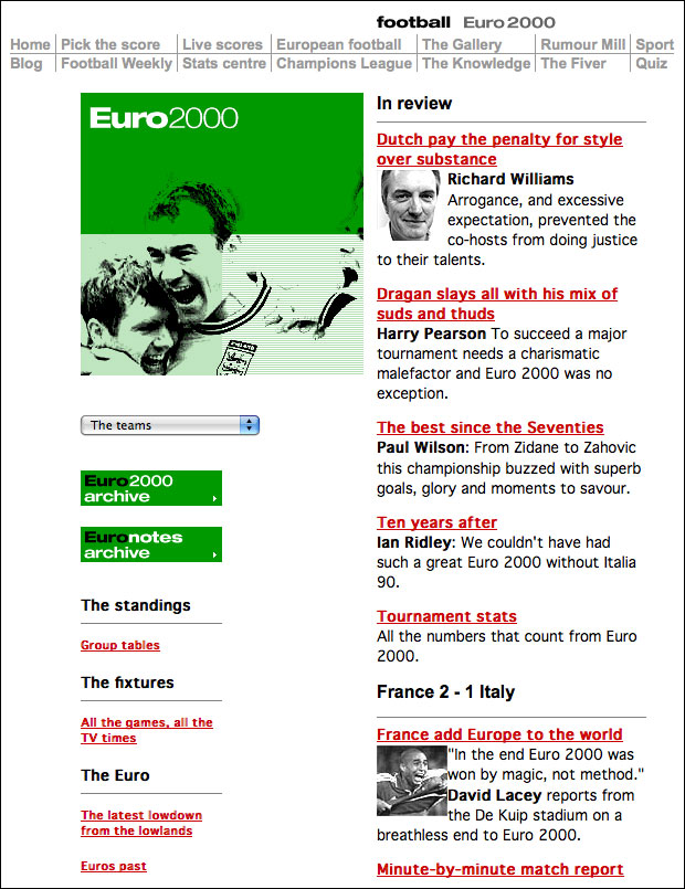 Euro 2000 coverage on The Guardian