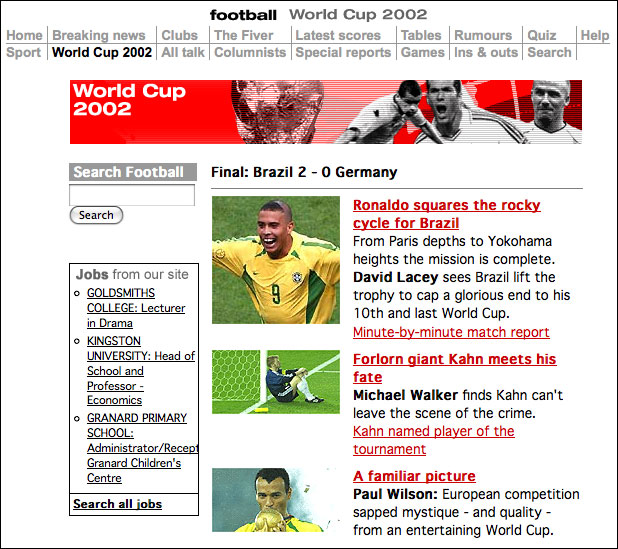 2002 World Cup coverage on The Guardian