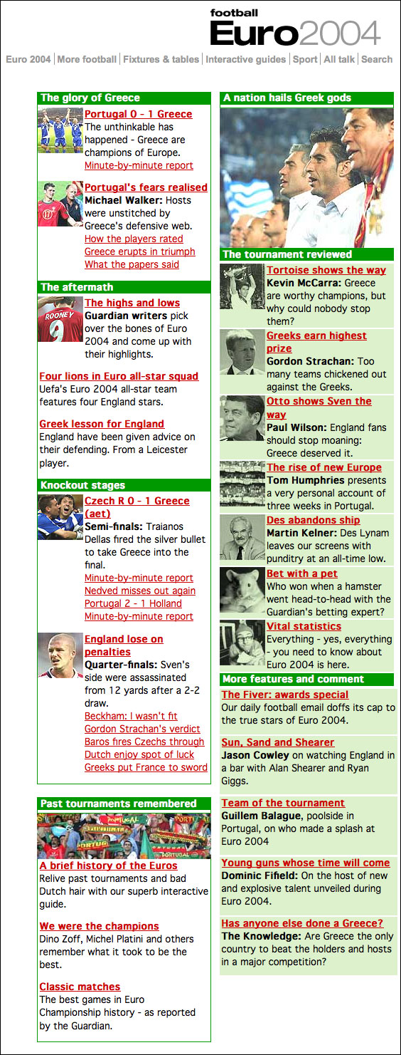 Euro2004 coverage on The Guardian site