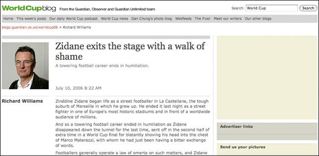 Zidane's shame article online