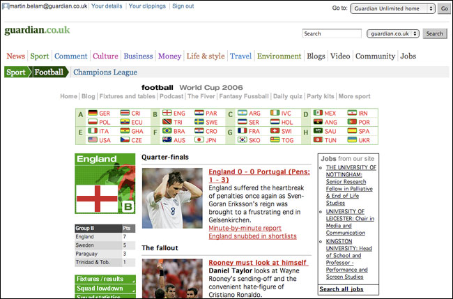 The Guardian's 2006 World Cup England page