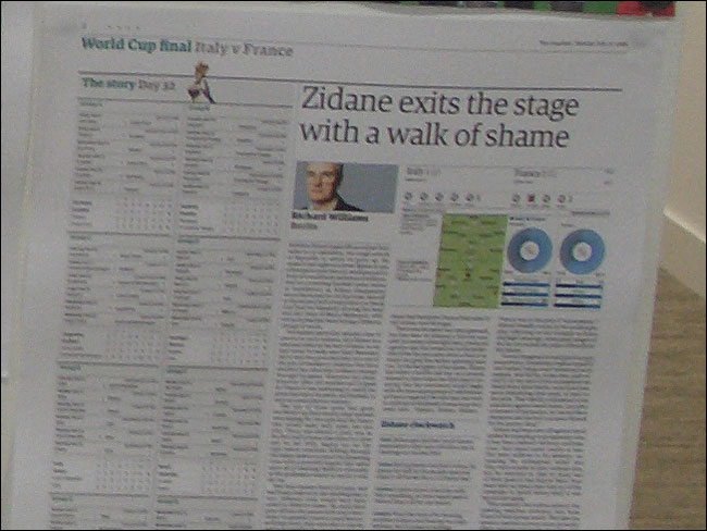 Zidane's shame article in print