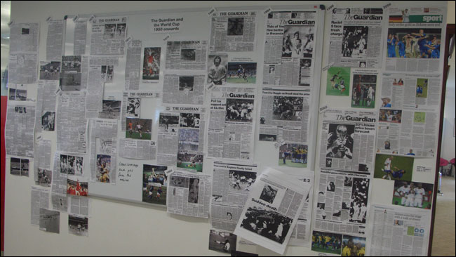 The Guardian's World Cup archive wall