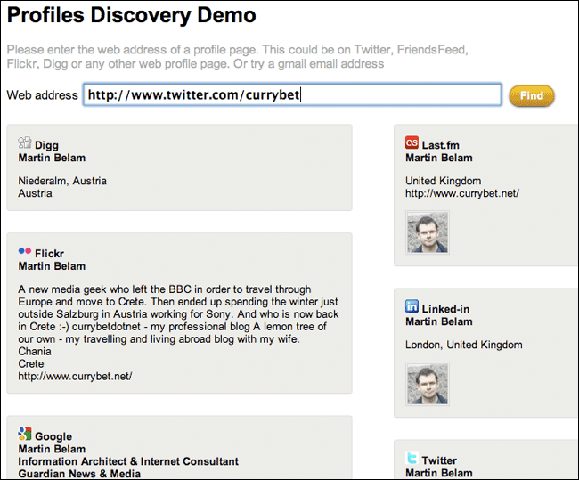 Ident Engine profile discovery demo using Martin Belam as an example