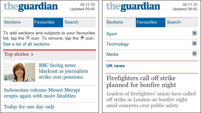 Favourites functionality on the new m.guardian.co.uk site