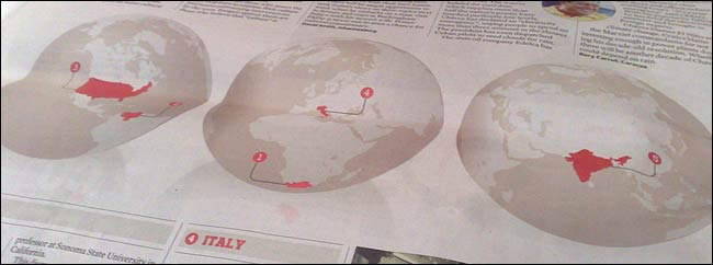 Globes indicate where the stories in the world review are sourced from