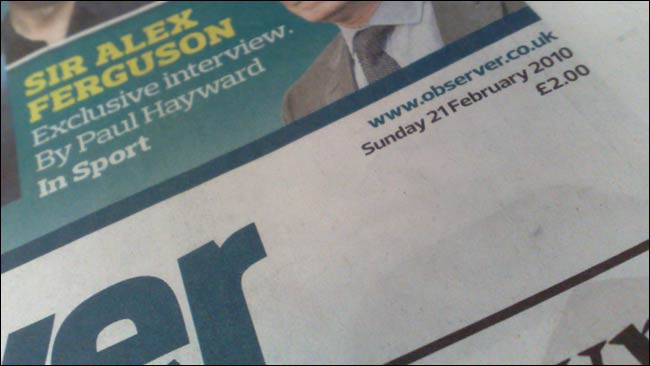 The Observer URL in the new masthead