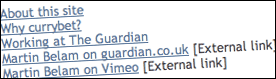 Example of links marked 'External'