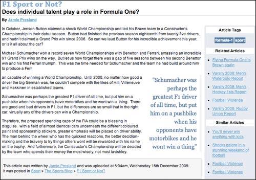 Leeds Student Online F1 article