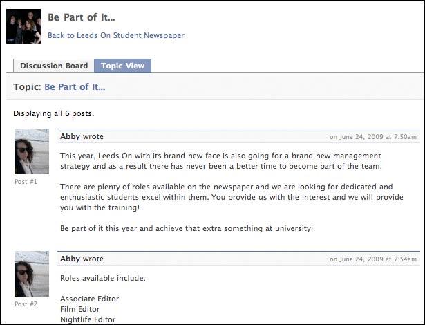 Leeds Metropolitan University Facebook presence