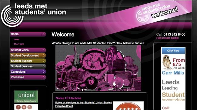 Leeds Metropolitan University Student Union homepage