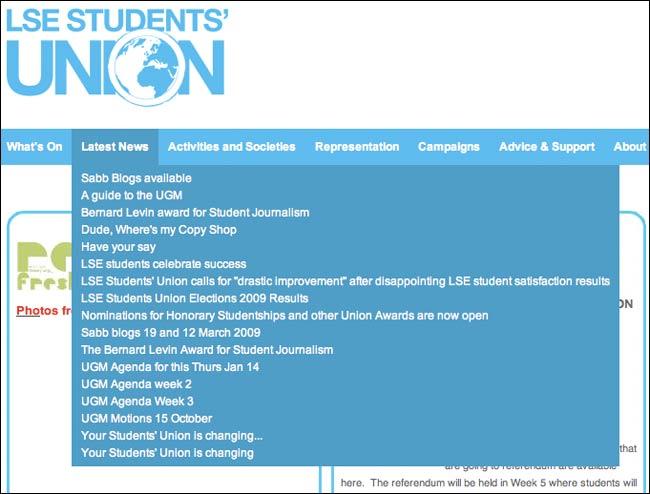 LSE Student Union site navigation